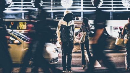 Rushing through the city. dark