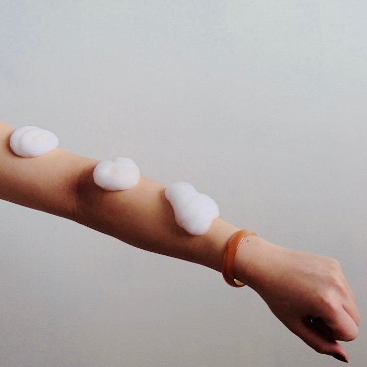 Being by Sanctuary Spa 3 spots of foam on arm
