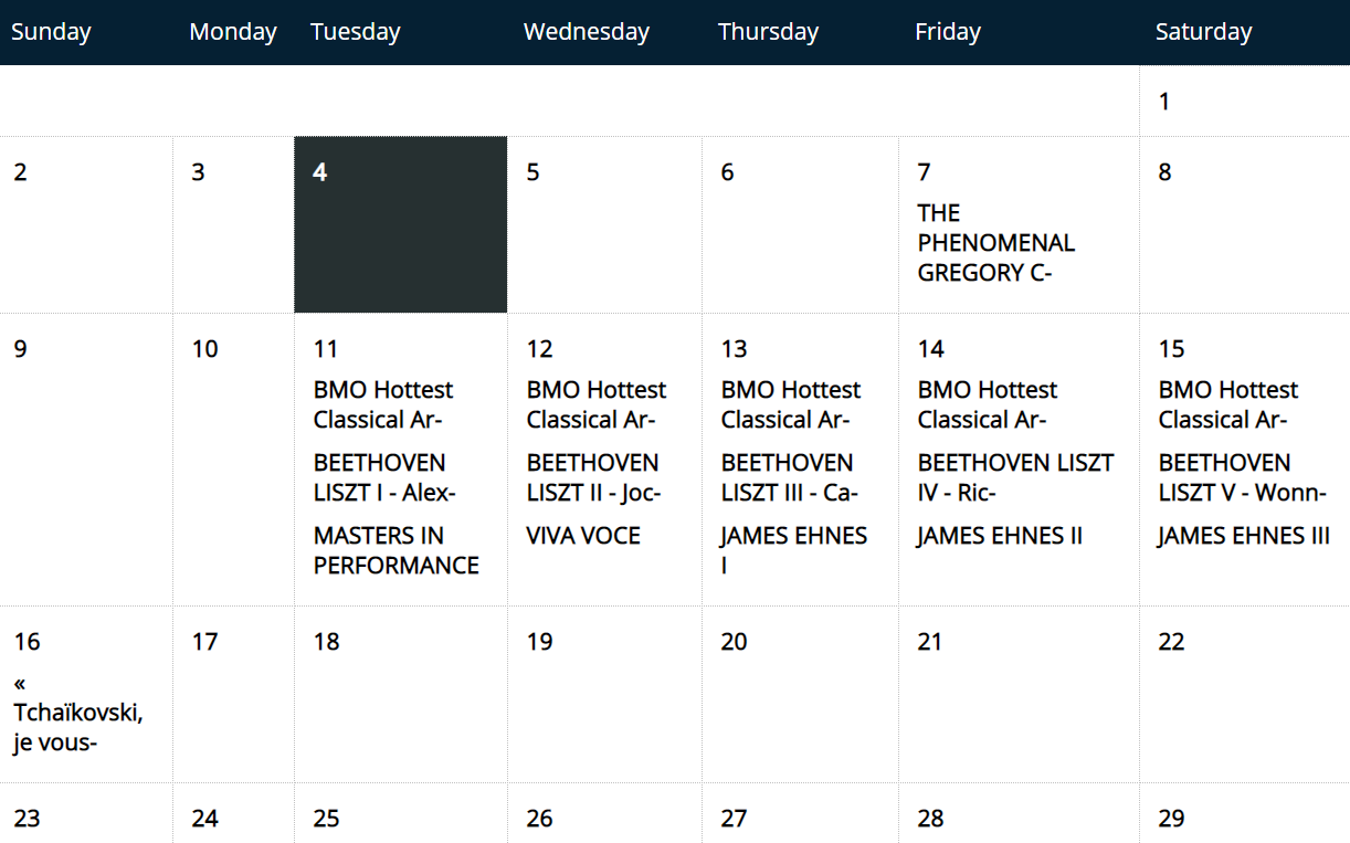 Montreal Chamber Music Festival Schedule